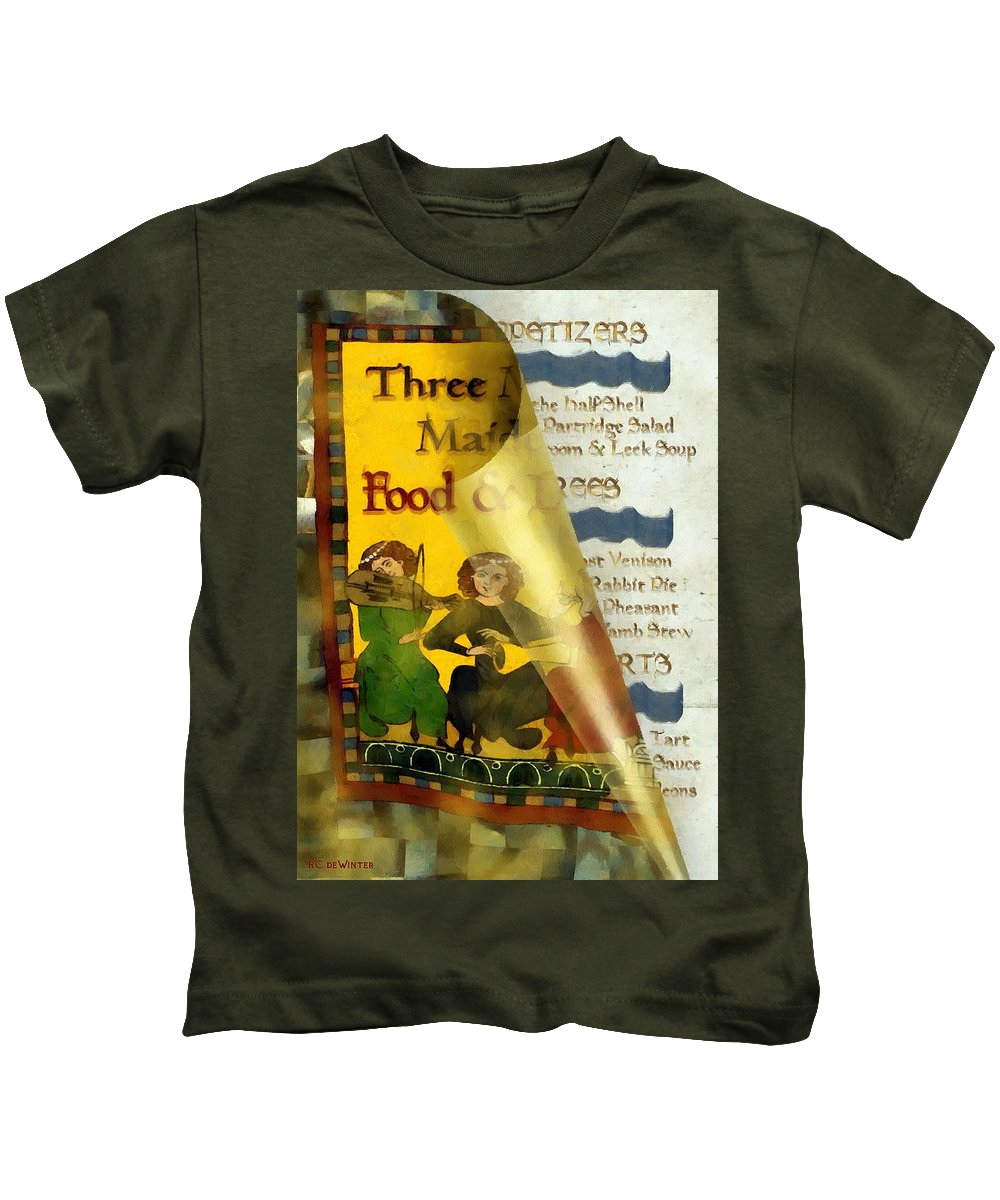 Colorful Kids T-Shirt featuring the painting Menu From A Medieval Restaurant by RC DeWinter