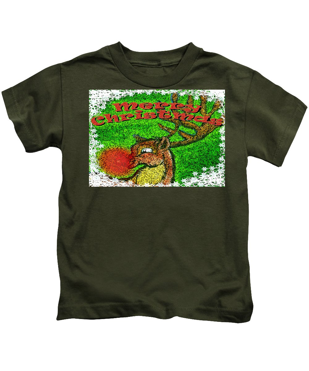 Christmas Kids T-Shirt featuring the greeting card Merry Christmas by Kevin Middleton