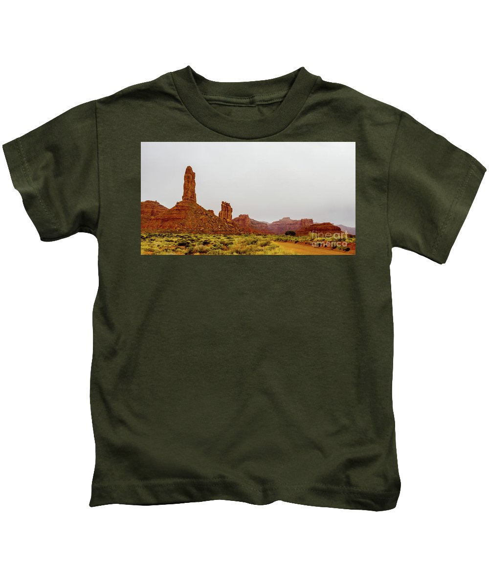 Valley Of The Gods Kids T-Shirt featuring the photograph Mesa by Jerry Sellers