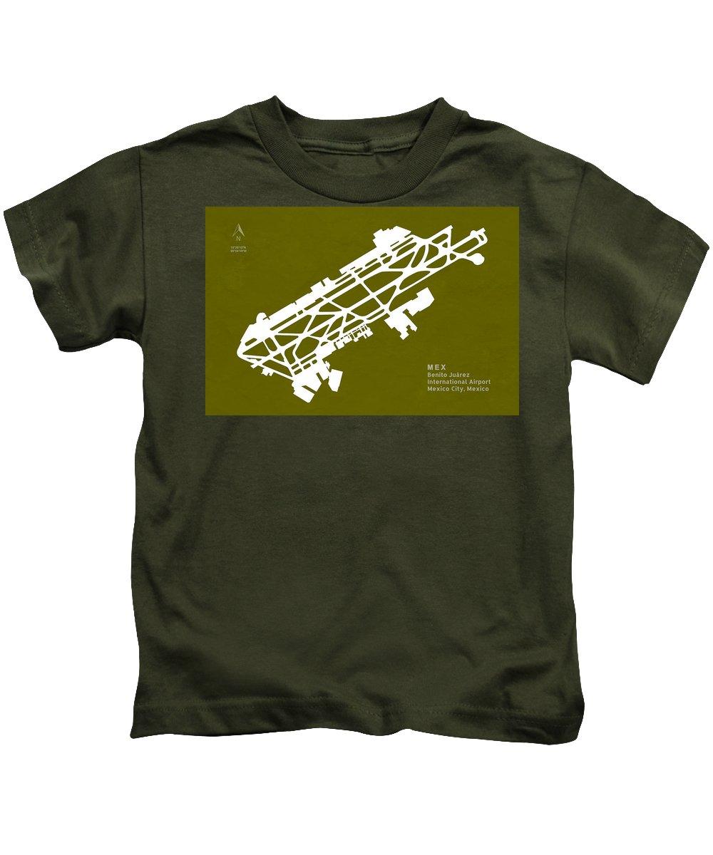 Silhouette Kids T-Shirt featuring the digital art Mex Benito Juarez International Airport Silhouette In Olive by Jurq Studio