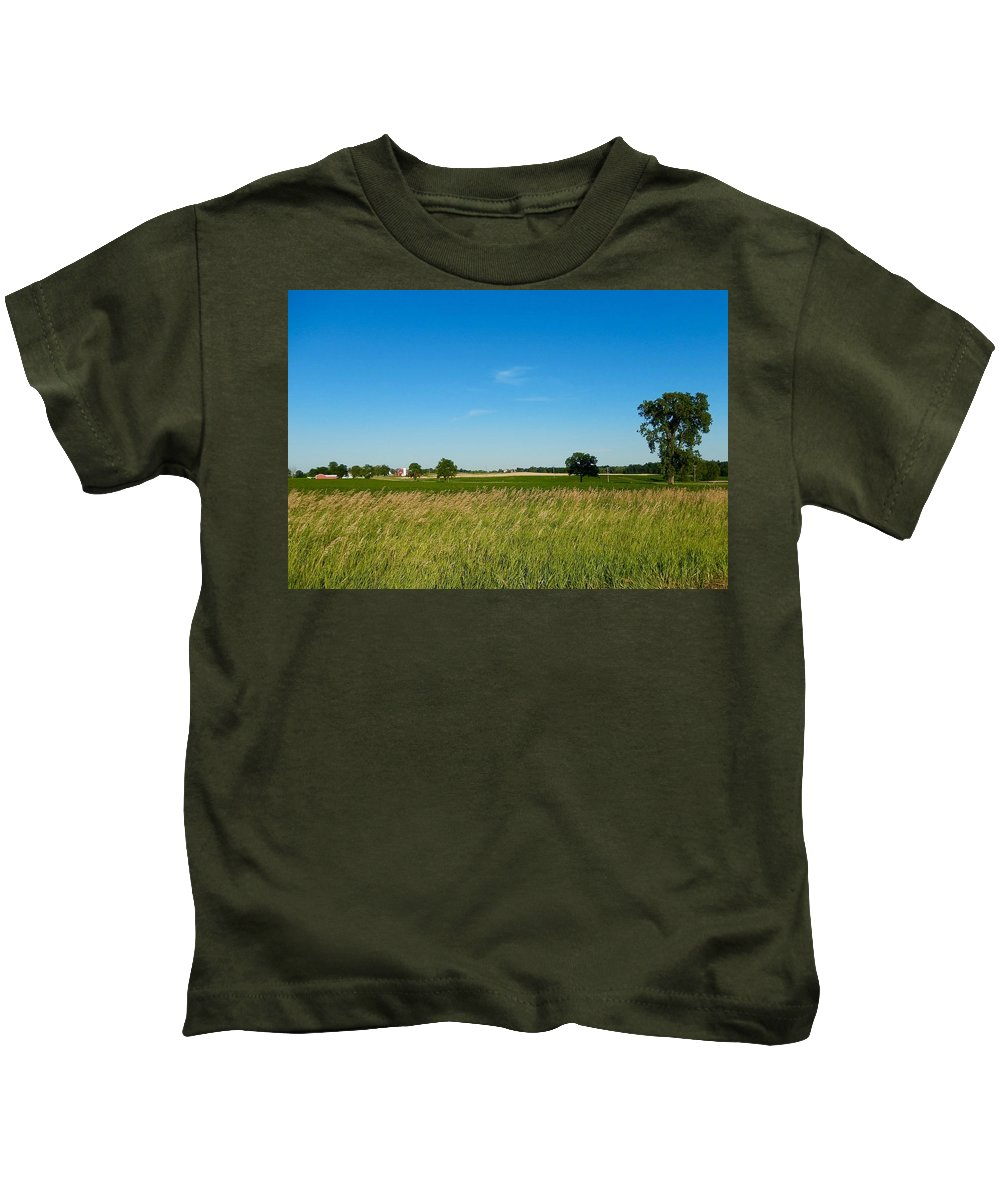 Blue Kids T-Shirt featuring the photograph Michigan Summer Fields by Susan Wyman