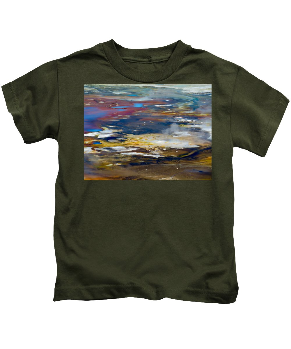 Abstract Kids T-Shirt featuring the photograph Microbes Paint Too by Alanna Morris