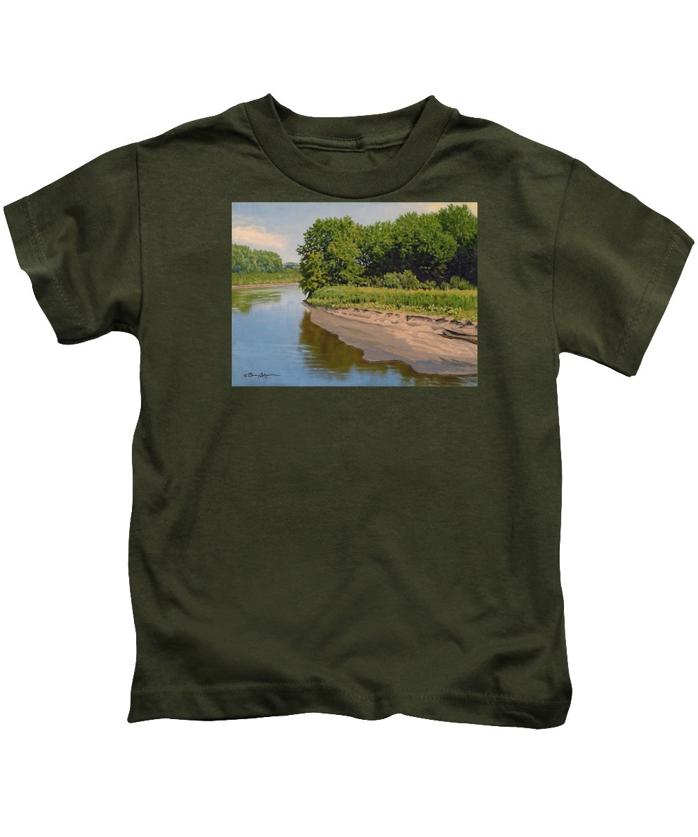 Summer Landscape Kids T-Shirt featuring the painting Mid Summer Prairie Stream by Bruce Morrison
