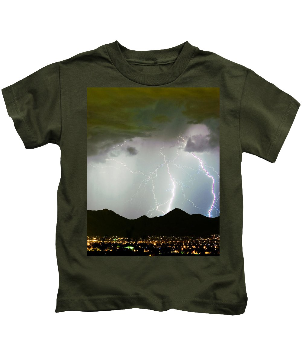 Lightning Kids T-Shirt featuring the photograph Midnight Hour by James BO Insogna