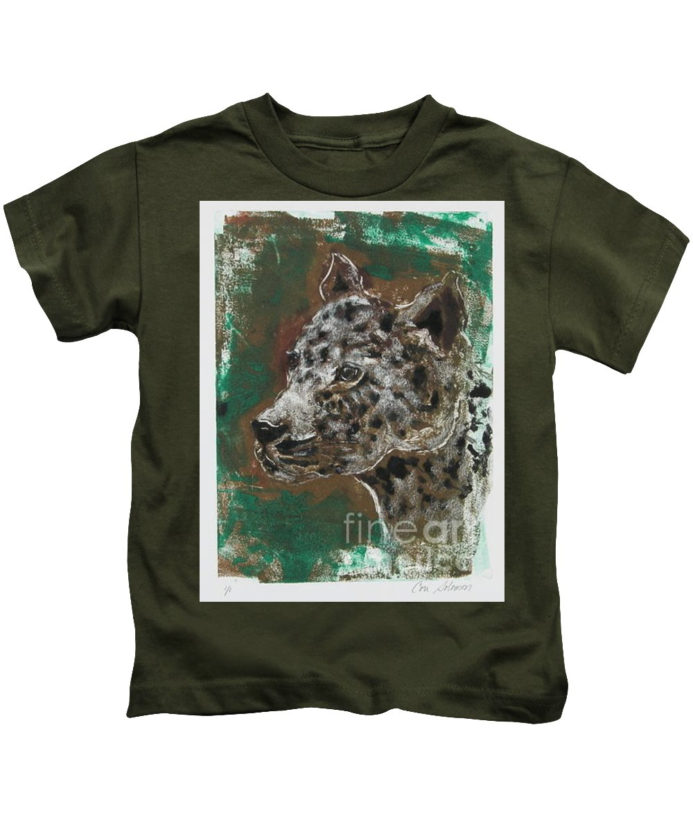 Monotype Kids T-Shirt featuring the mixed media Midnight Prowler by Cori Solomon