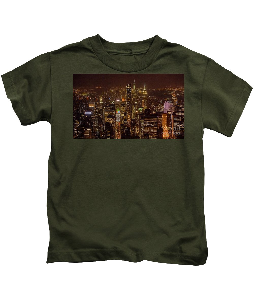 Midtown Kids T-Shirt featuring the photograph Midtown Manhattan Skyline Aerial At Night by David Oppenheimer