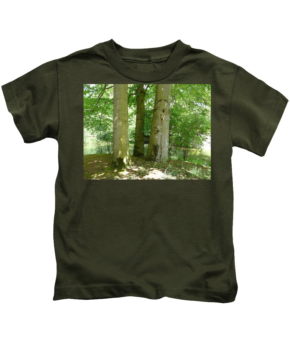 Landscape Kids T-Shirt featuring the photograph Mighty Beech Trees by Valerie Ornstein
