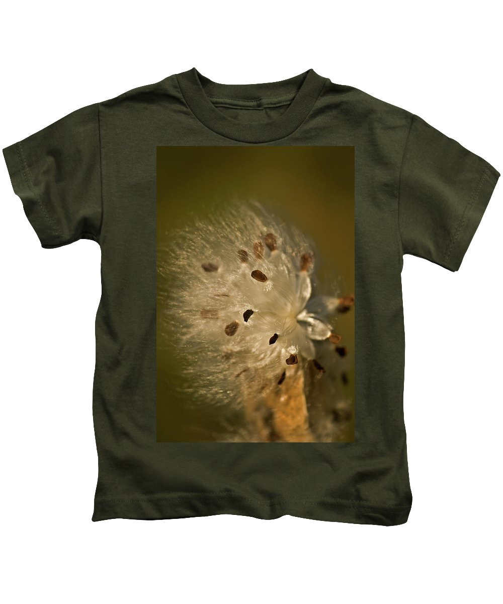 Milkweed Kids T-Shirt featuring the photograph Milkweed Blast by Paul Mangold