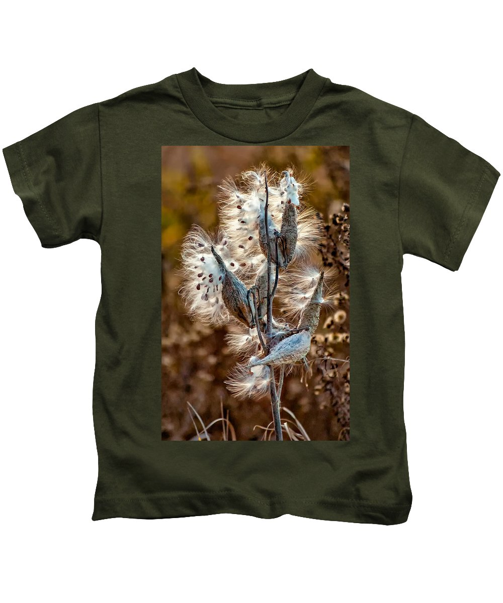 Milkweed Kids T-Shirt featuring the photograph Milkweed by Steve Harrington