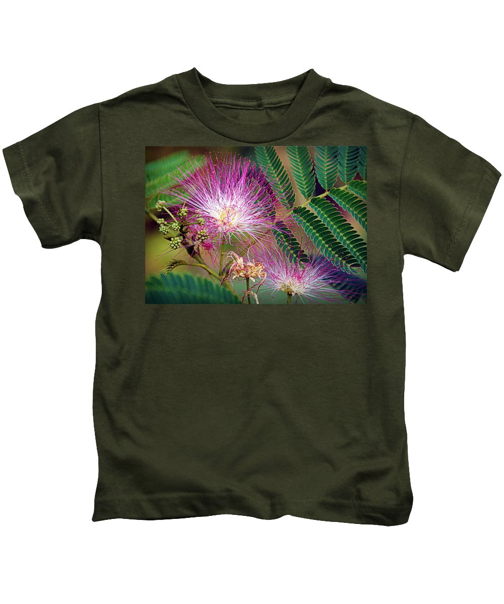 Mimosa Kids T-Shirt featuring the photograph Mimosa's First Blooms by Cricket Hackmann