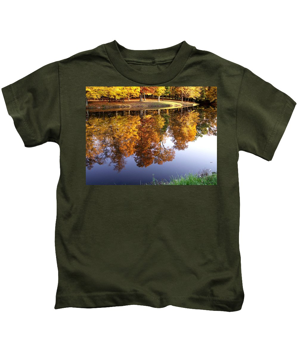 jenny Gandert Lake Gold Mining Water Reflection Sky Blue Yellow Maple Maples Trees Autumn Fall Grass Real Kids T-Shirt featuring the photograph Mining For Gold by Jenny Gandert