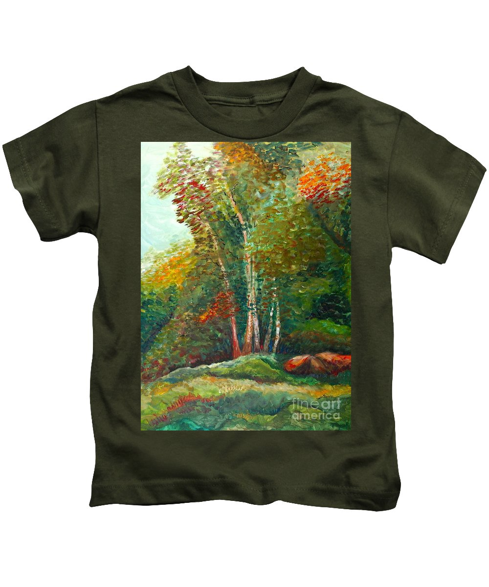 Landscape Kids T-Shirt featuring the painting Minnesota Quartet by Nadine Rippelmeyer