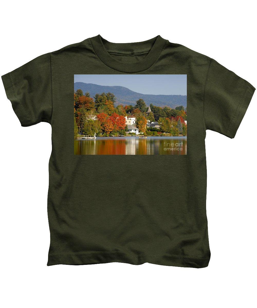 Adirondack Mountains Kids T-Shirt featuring the photograph Mirror Lake by David Lee Thompson