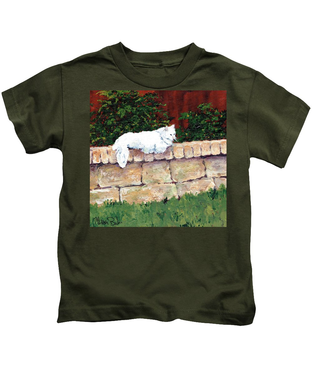 Cat. Feline Kids T-Shirt featuring the painting Miss Kitty by Melissa Barbee