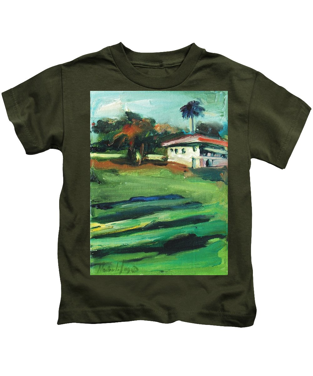 Cityscape Kids T-Shirt featuring the painting Mission Dolores by Rick Nederlof