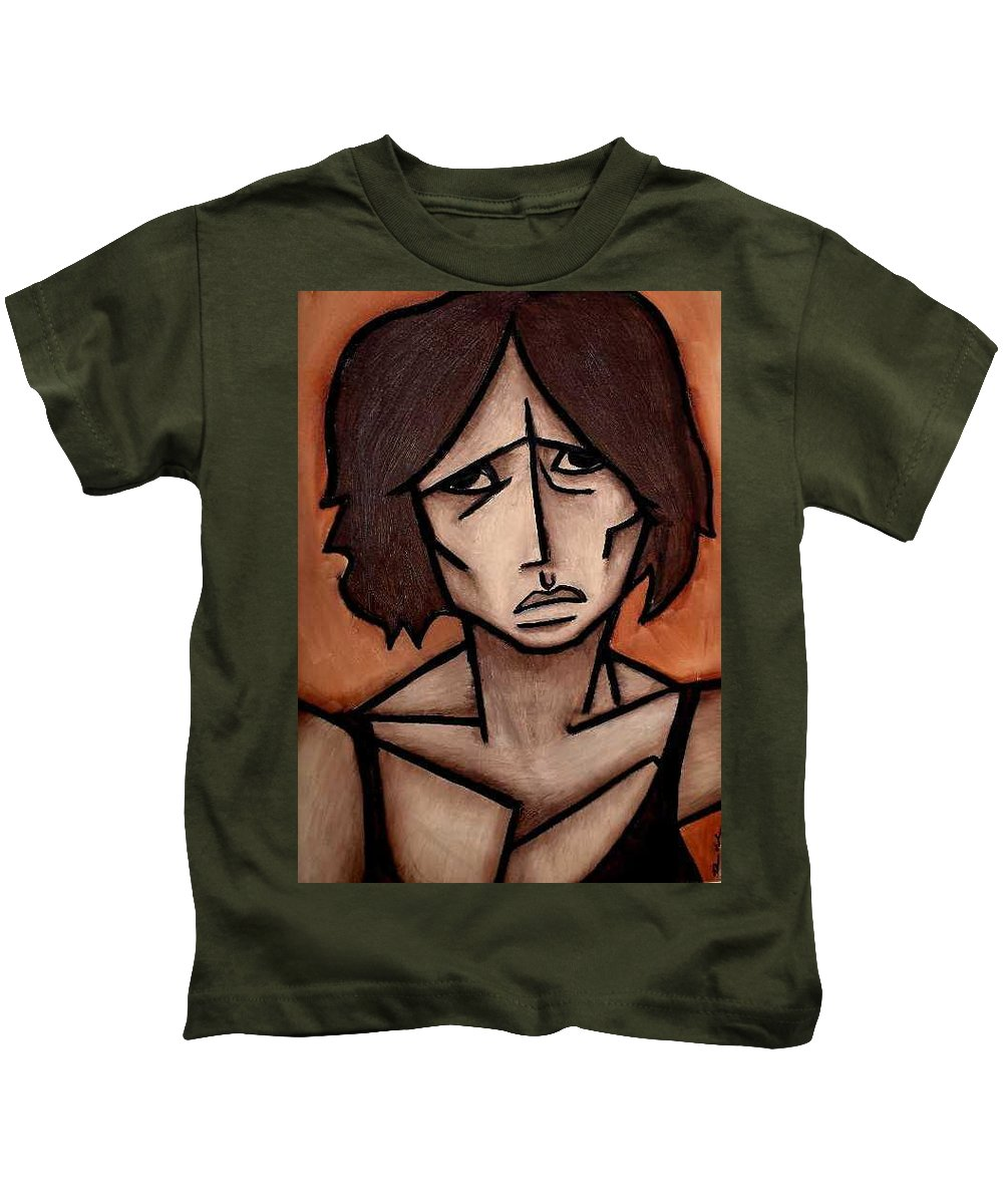 Potrait Kids T-Shirt featuring the painting Missy by Thomas Valentine