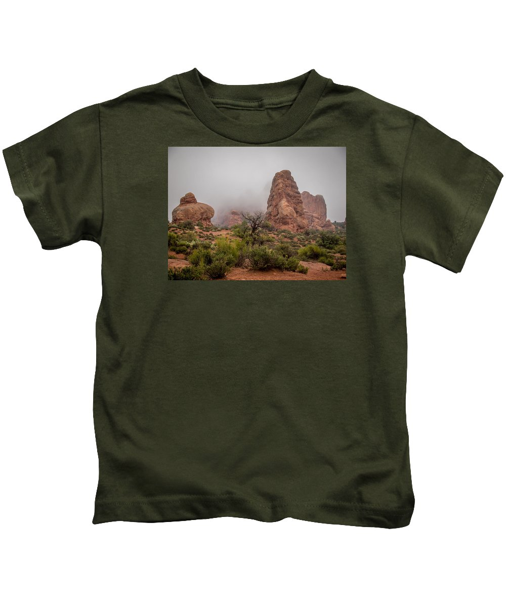 Scenery Kids T-Shirt featuring the photograph Misty Morning by John Kulberg