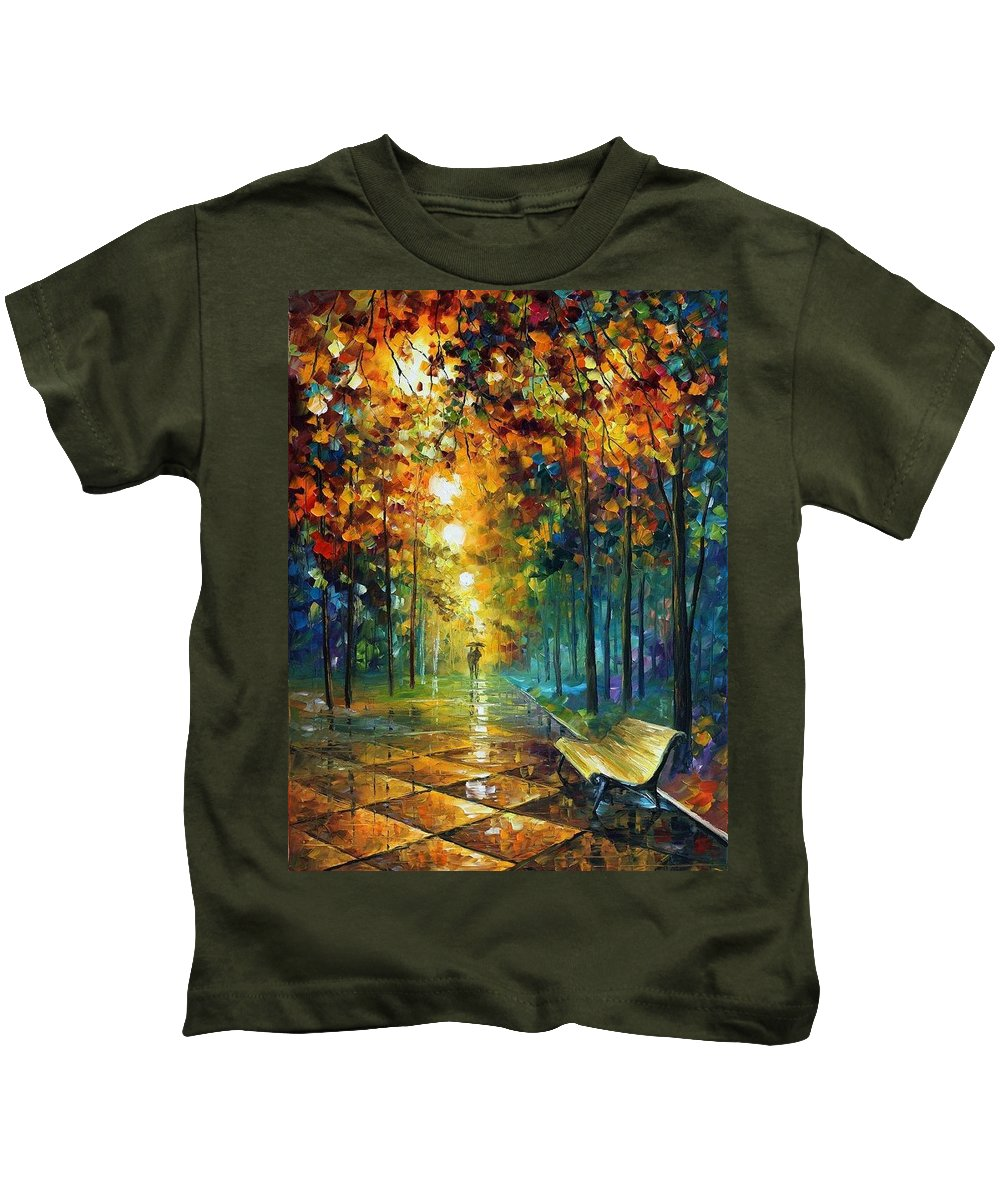 Afremov Kids T-Shirt featuring the painting Misty Park by Leonid Afremov