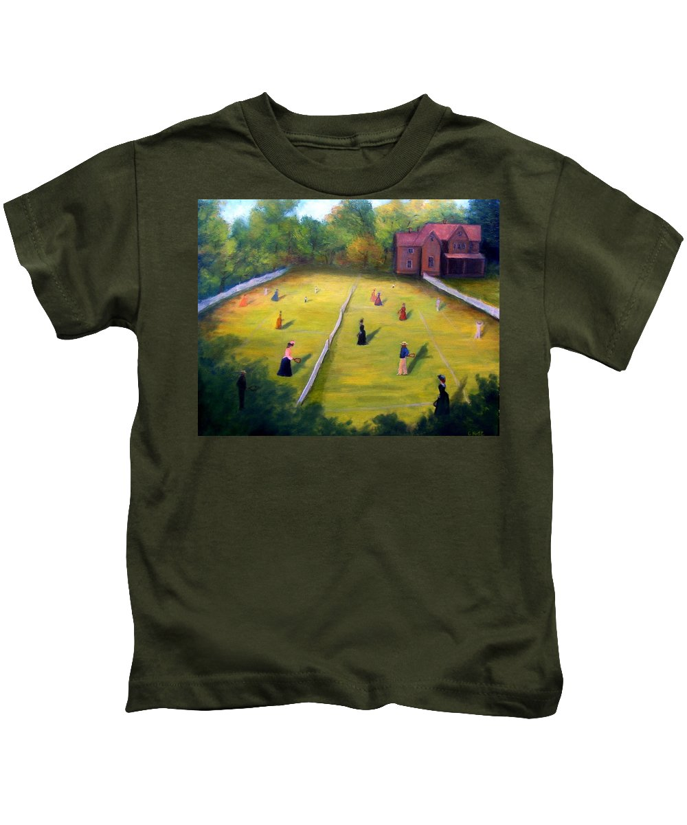 Tennis Art Kids T-Shirt featuring the painting Mixed Doubles by Gail Kirtz