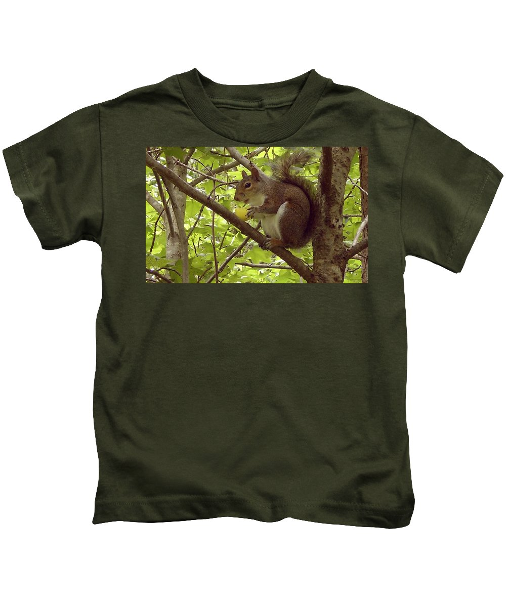 Squirrel Kids T-Shirt featuring the photograph Mmmmm Good by Mary Rogers