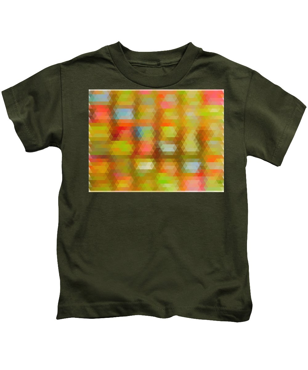 Modern Abstract Mosaic Color Combination 4 Kids T-Shirt featuring the painting Modern Abstract Mosaic Color Combination 4 by Celestial Images