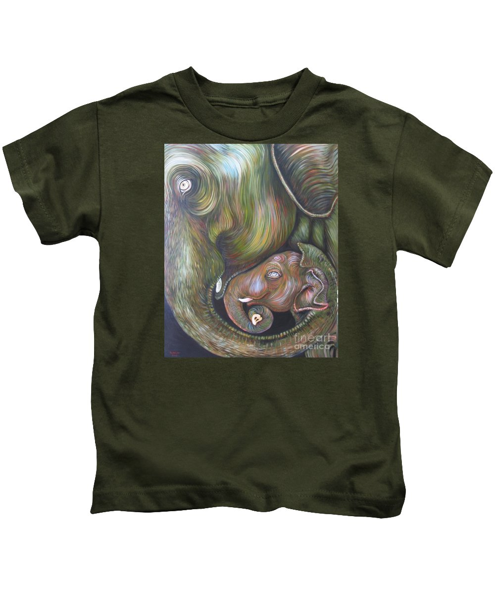 Elephant Kids T-Shirt featuring the painting Mom And Kid by Sukalya Chearanantana