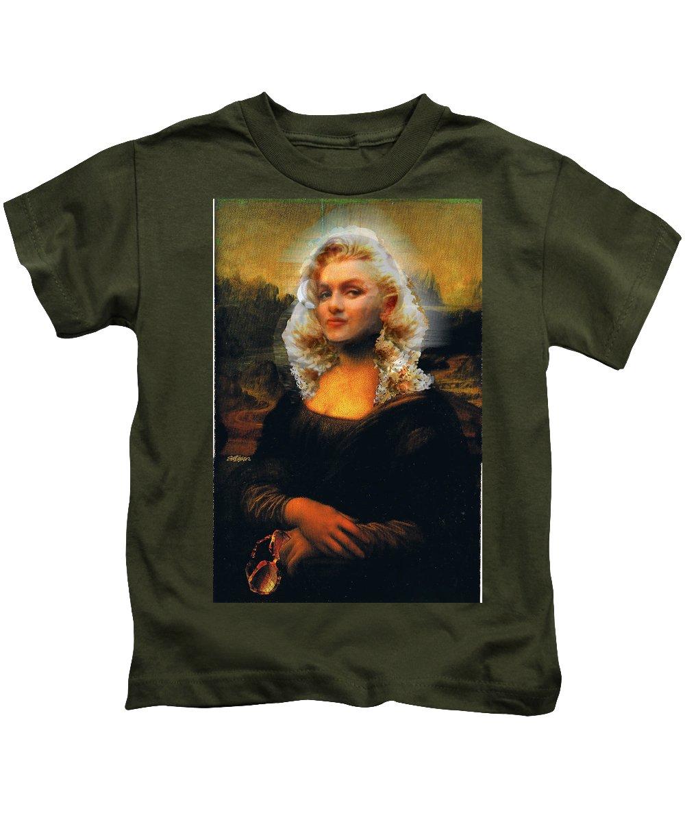 Mona Lisa Kids T-Shirt featuring the digital art Mona Marilyn by Seth Weaver
