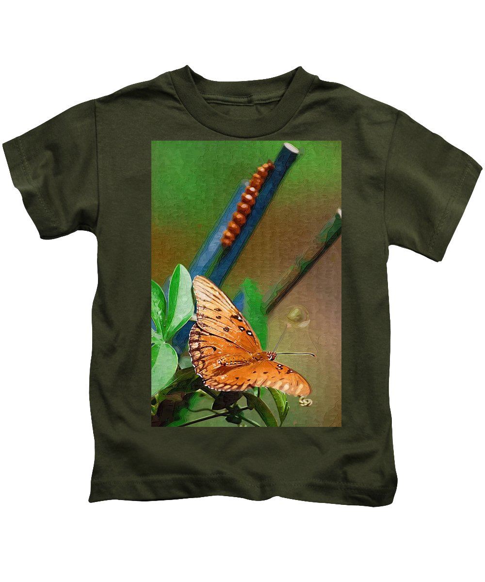 Monarch Kids T-Shirt featuring the photograph Monarch And Caterpillar by Donna Bentley