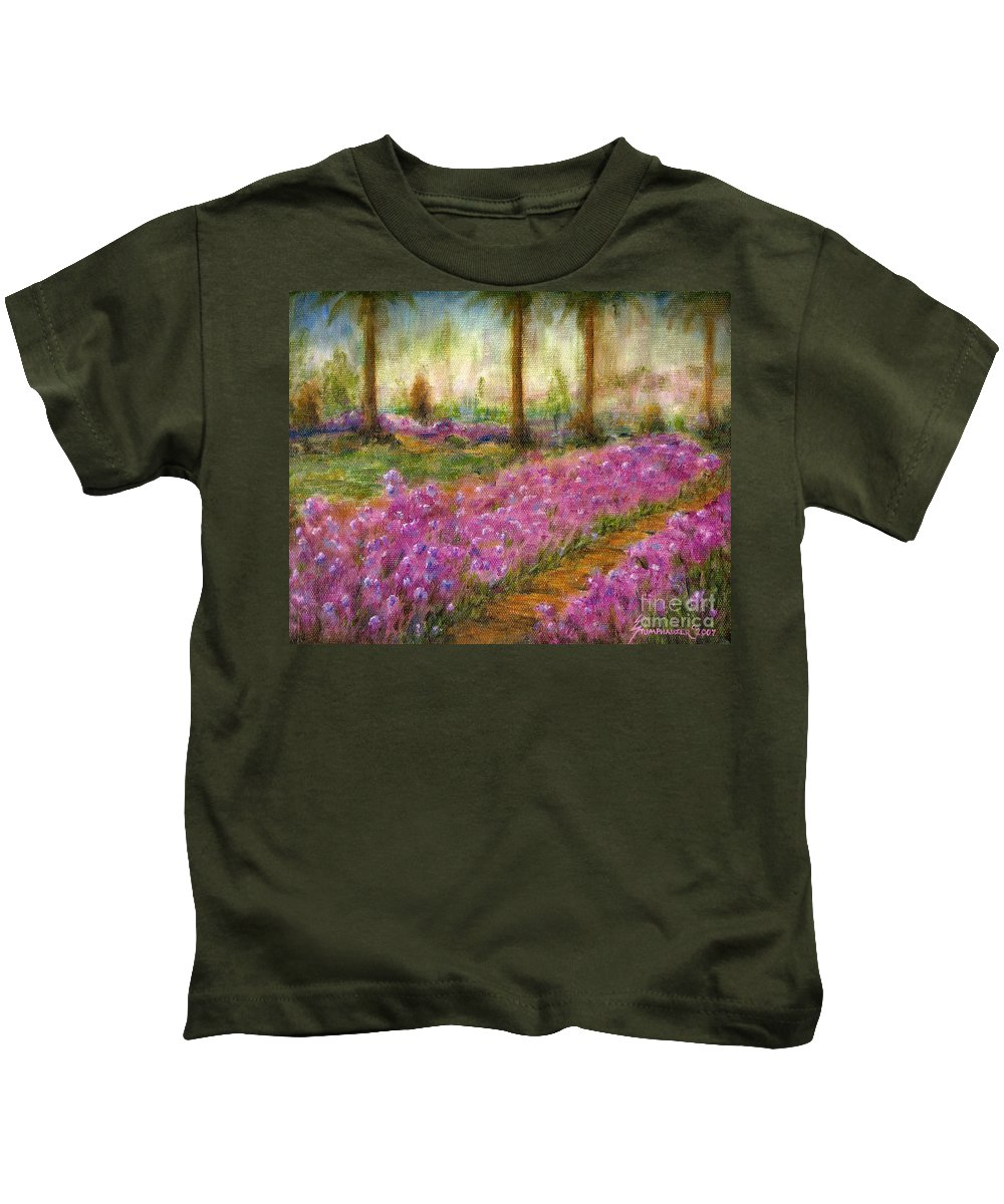 Monet Kids T-Shirt featuring the painting Monet's Garden In Cannes by Jerome Stumphauzer