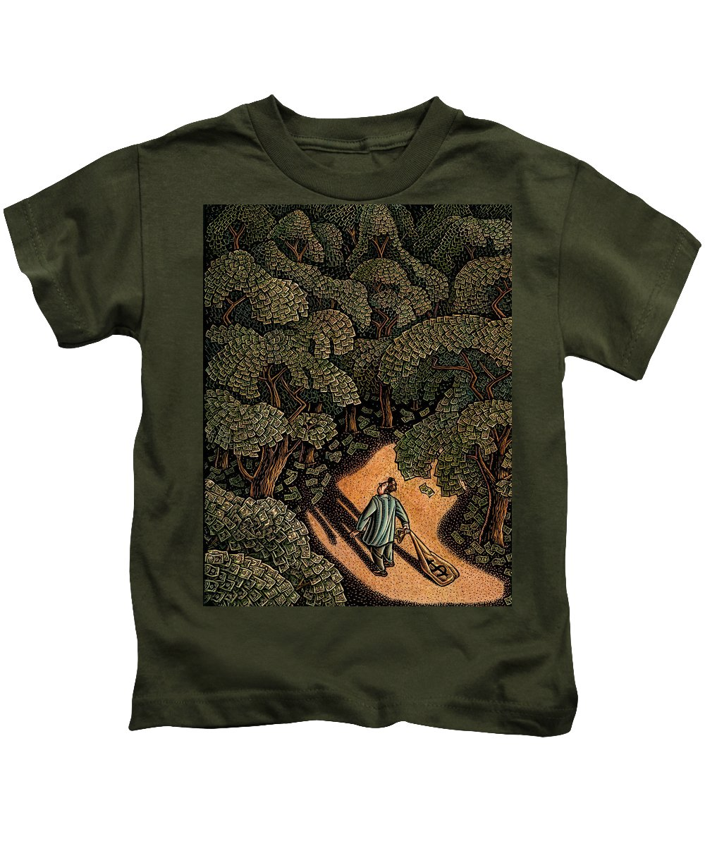 Angel Investor Kids T-Shirt featuring the drawing Money Forest by Lisa Haney