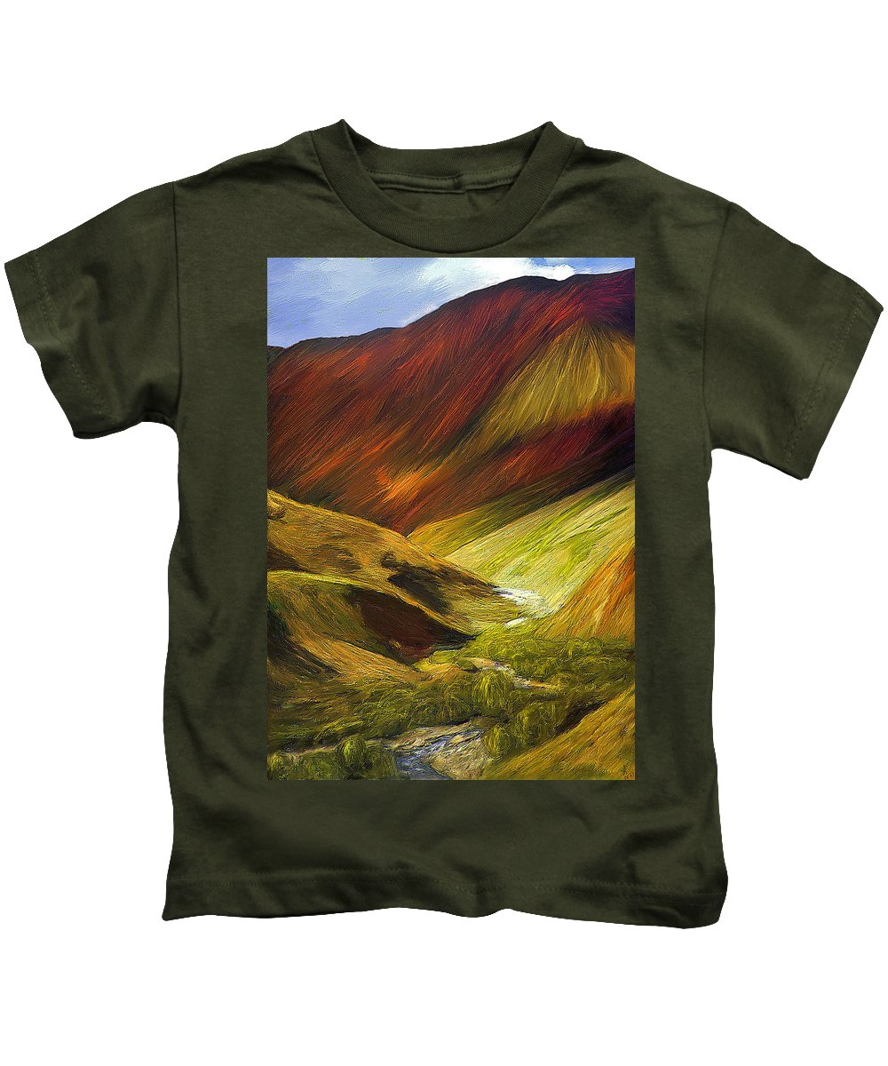 Mongolia Kids T-Shirt featuring the painting Mongolian Landscape by Alex Galkin