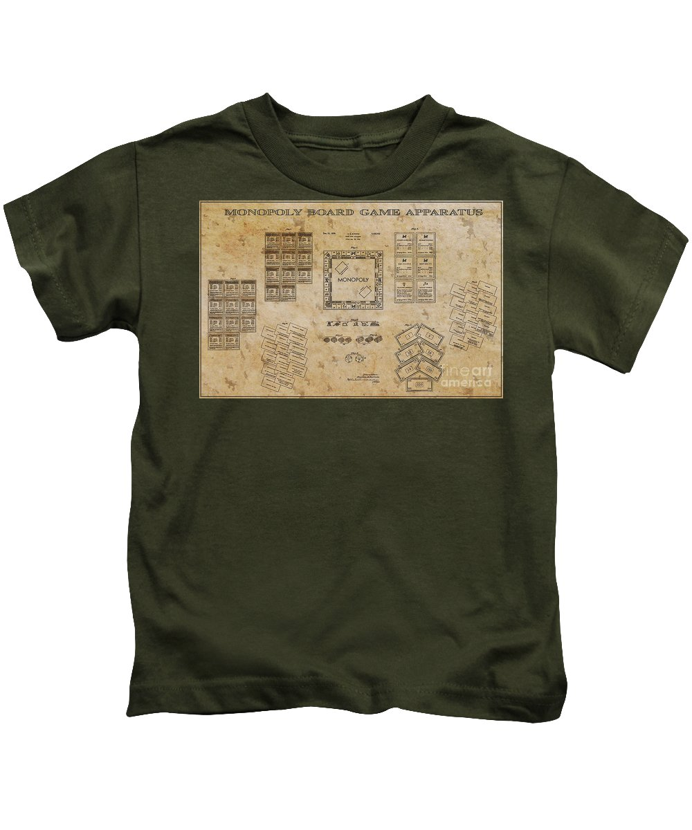 Monopoly Kids T-Shirt featuring the digital art monopoly Board Game 1935 by Steven Parker