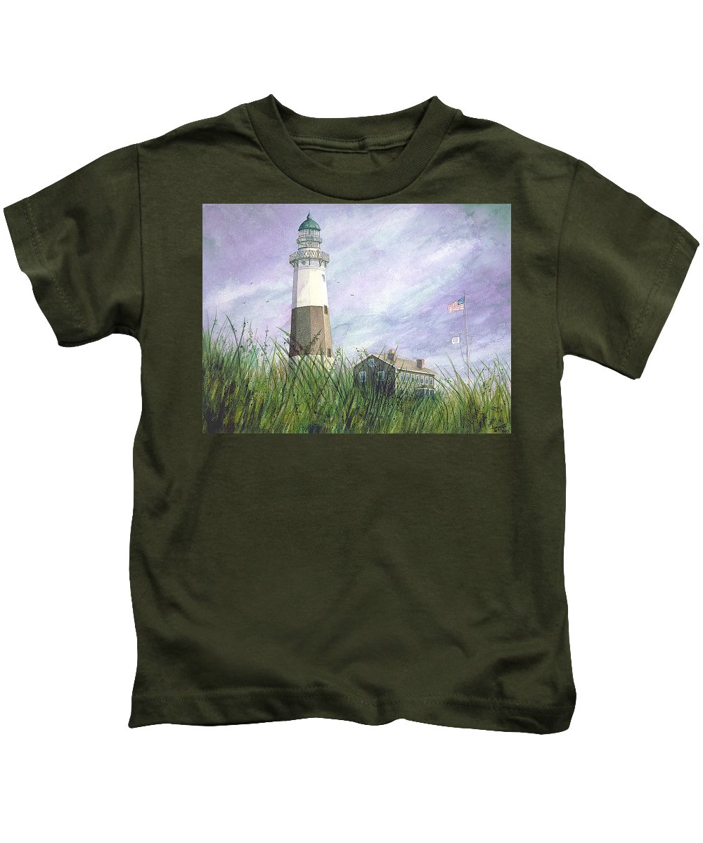 Kids T-Shirt featuring the painting Montauk Lighthouse by Tony Scarmato