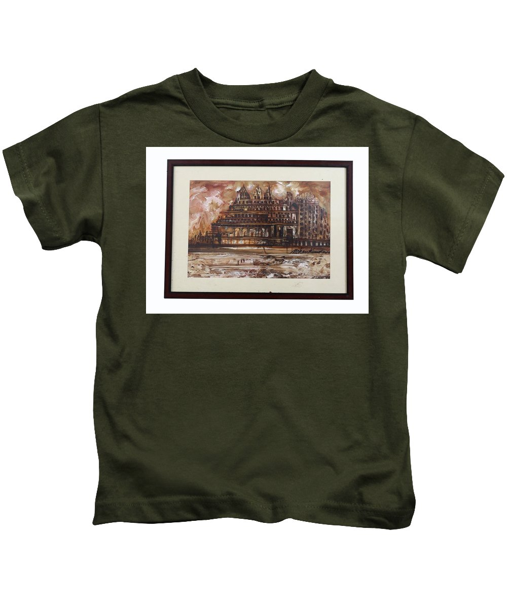 Kids T-Shirt featuring the painting Monuments At Utaranchal by Paris Mohan Kumar