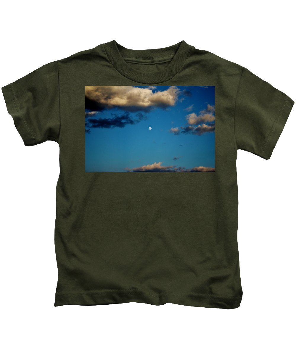 Moon Kids T-Shirt featuring the photograph Moon Between The Clouds by Cynthia Guinn
