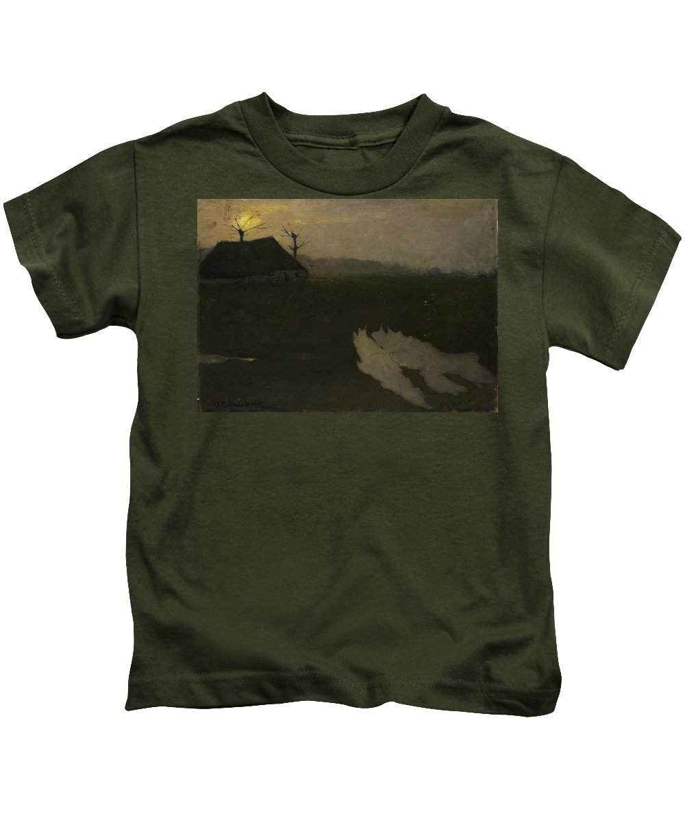 Landscape By Moonlight Kids T-Shirt featuring the painting Moonlight, Richard Roland Holst by MotionAge Designs
