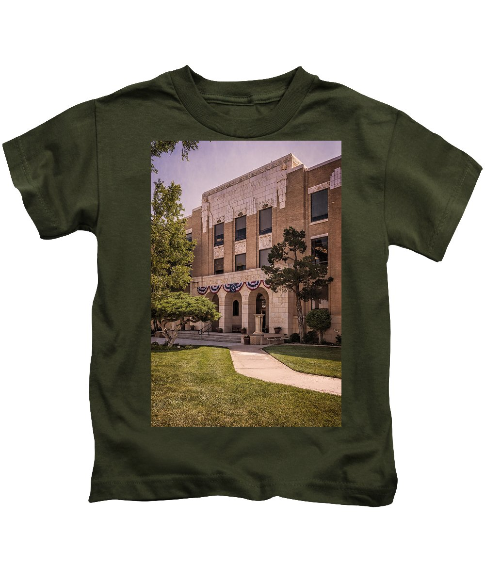 Joan Carroll Kids T-Shirt featuring the photograph Moore County Courthouse by Joan Carroll