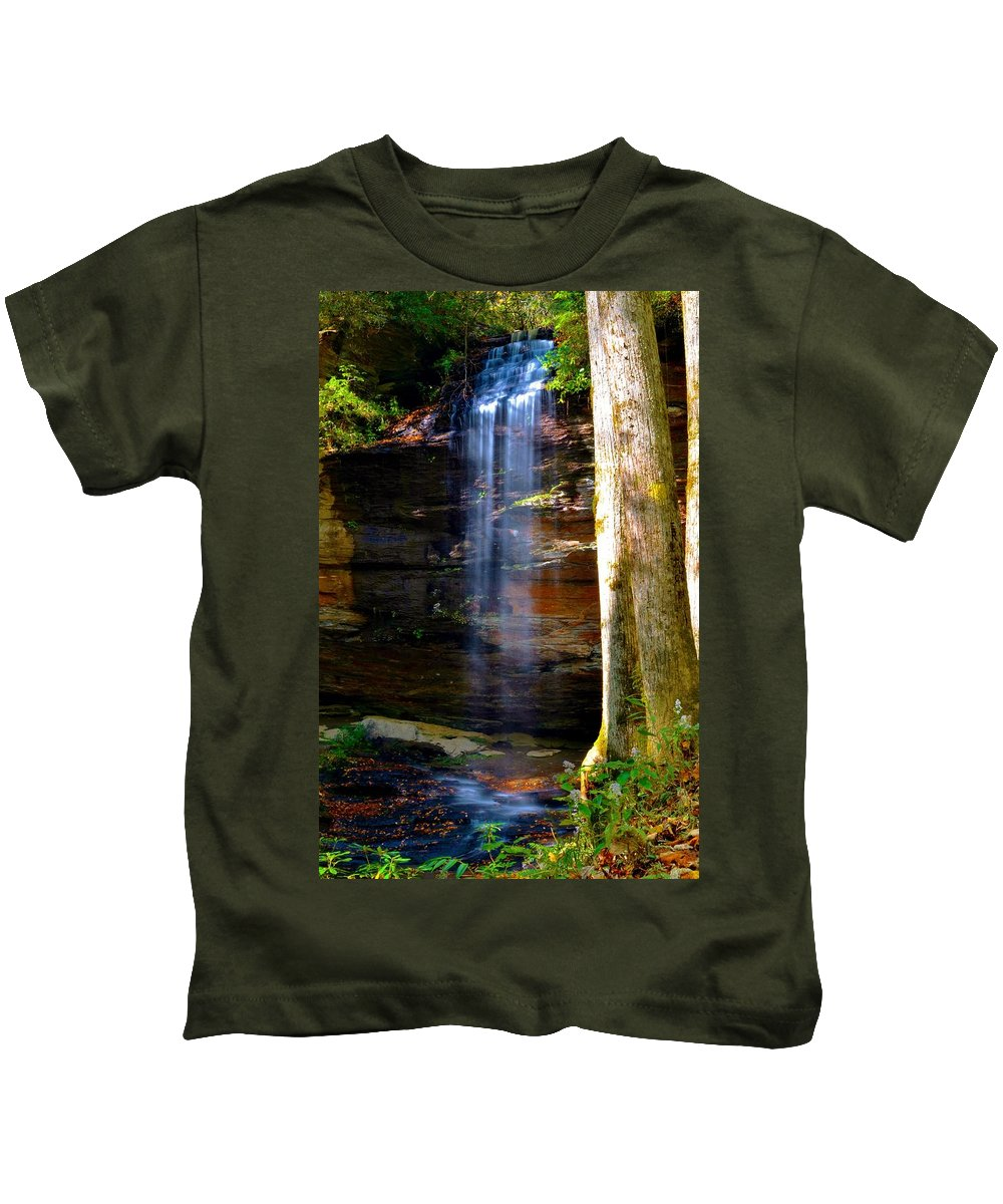 Moores Cove Falls Kids T-Shirt featuring the photograph Moore Cove Falls by Dennis Nelson