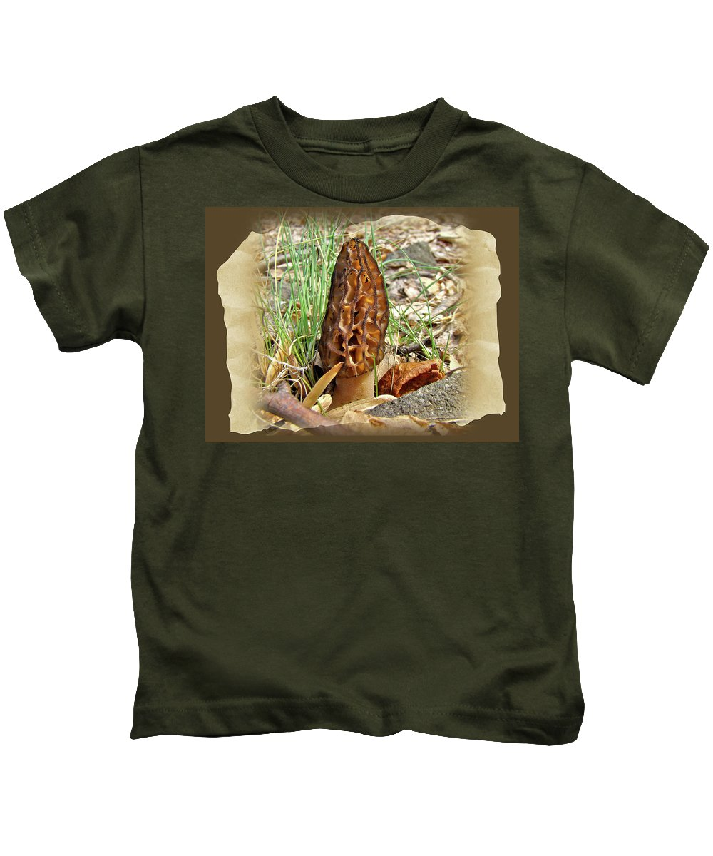 Morel Kids T-Shirt featuring the photograph Morel Mushroom - Green Lane Pa by Mother Nature