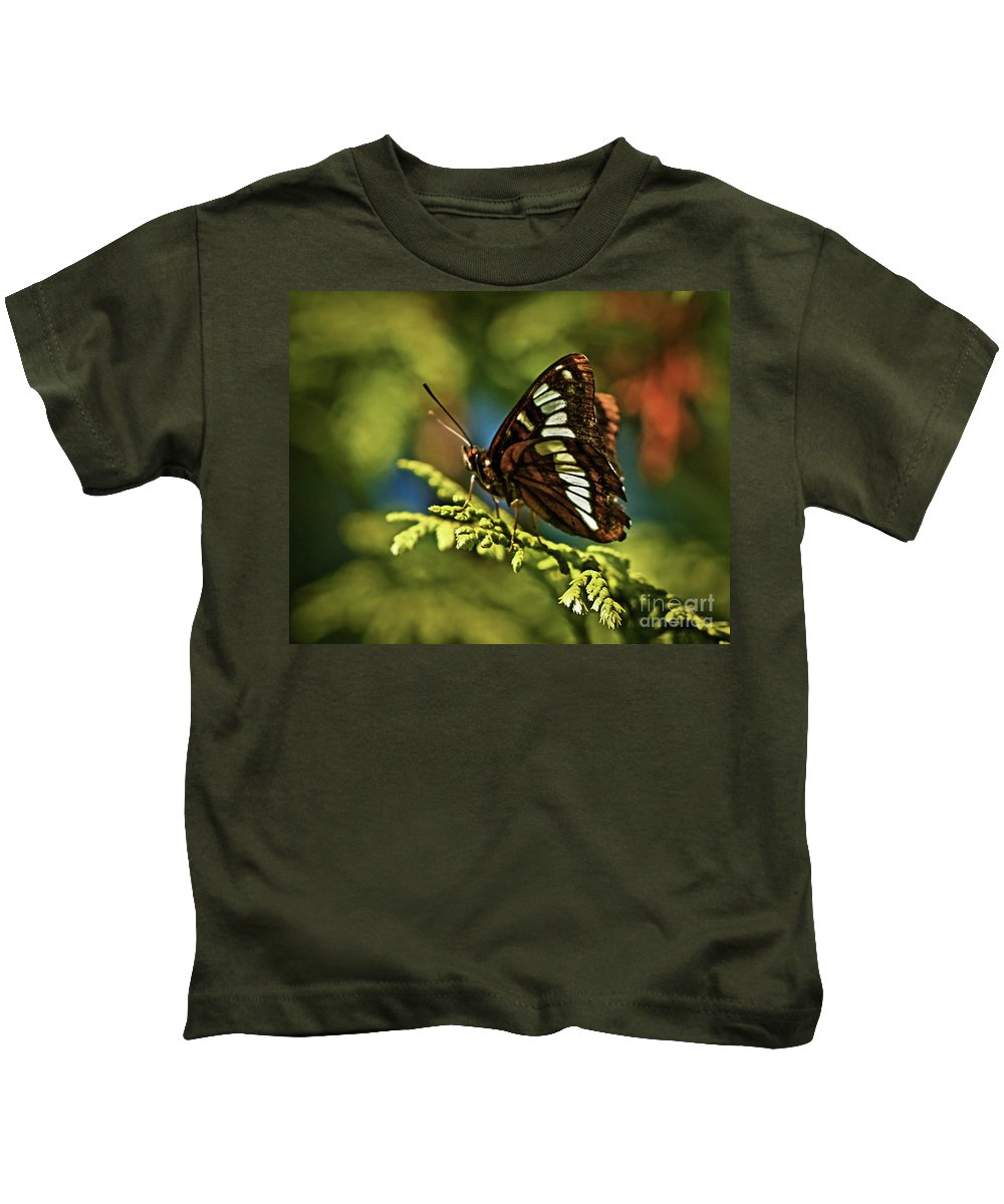 Animals Kids T-Shirt featuring the photograph Mormon Metalmark by Robert Bales