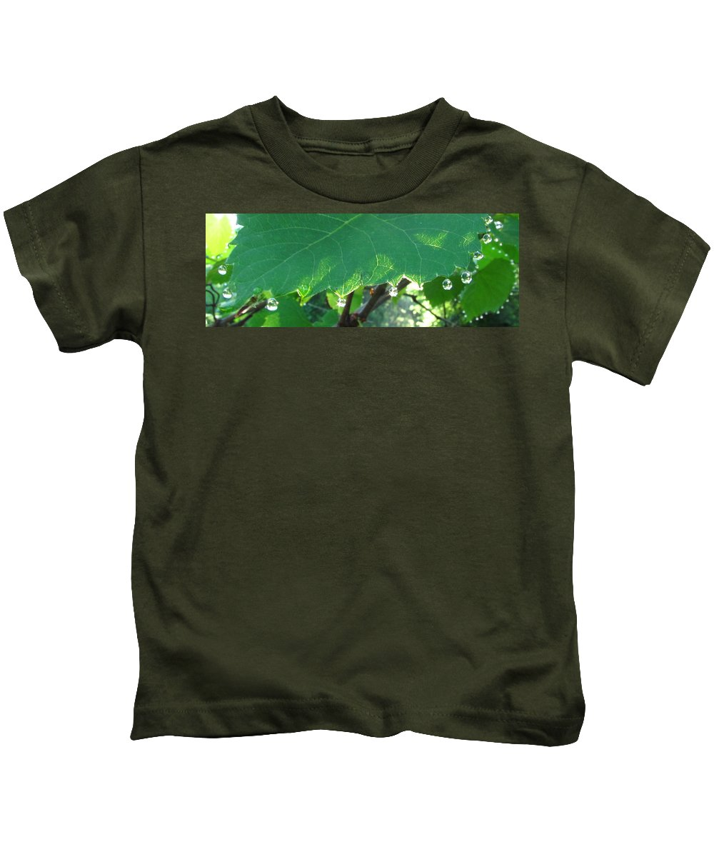 Morning Dew Images Prints Forest Flora Photograph Prints Liquid Gems Forest Jewelry Water Droplets Sunlight Woods Forest Complexity Kids T-Shirt featuring the photograph Morning Dew Diamonds by Joshua Bales