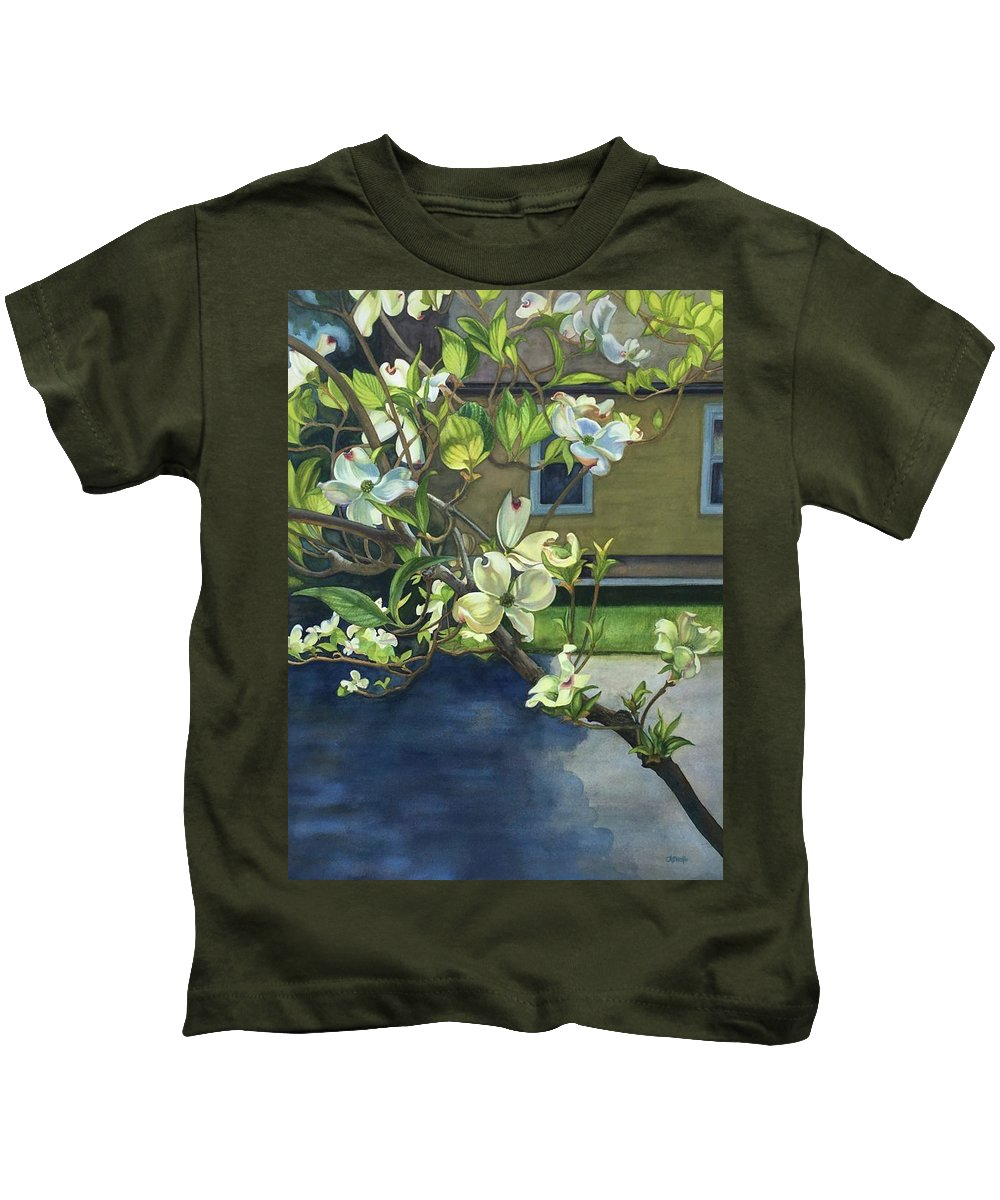 Dogwood Kids T-Shirt featuring the painting Morning Dogwood by Rosanne Wolfe