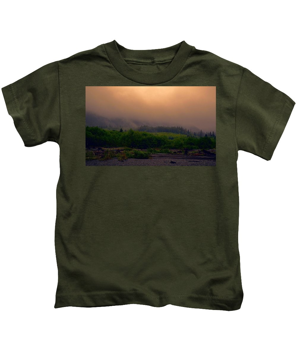 Morning Fog In Olympic National Park Kids T-Shirt featuring the photograph Morning Fog In Olympic National Park by Dan Sproul