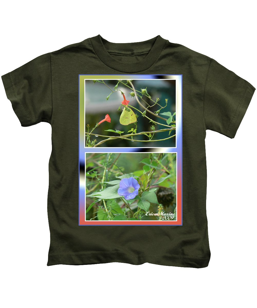 Flower Kids T-Shirt featuring the photograph Morning Glories And Butterfly by Ericamaxine Price