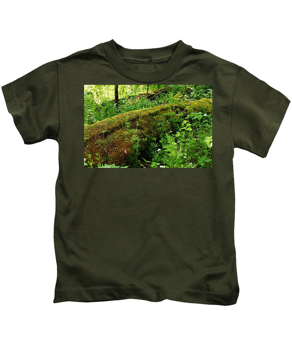 Moss Covered Log Kids T-Shirt featuring the photograph Moss Covered Log 2 by Larry Ricker