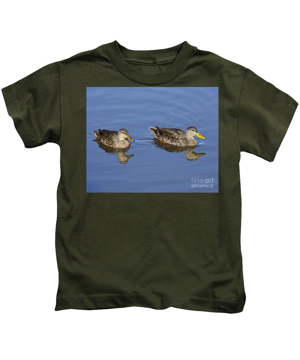 Mottled Ducks Kids T-Shirt featuring the photograph Mottled Ducks, South Padre Island, Texas by TN Fairey