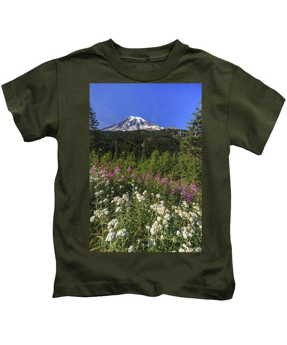 3scape Kids T-Shirt featuring the photograph Mount Rainier by Adam Romanowicz