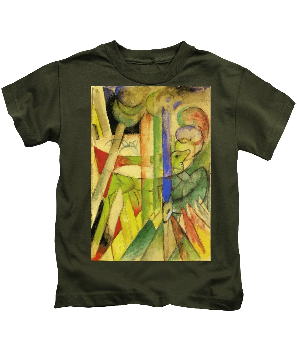 Mountain Kids T-Shirt featuring the painting Mountain Goats 1914 by Marc Franz