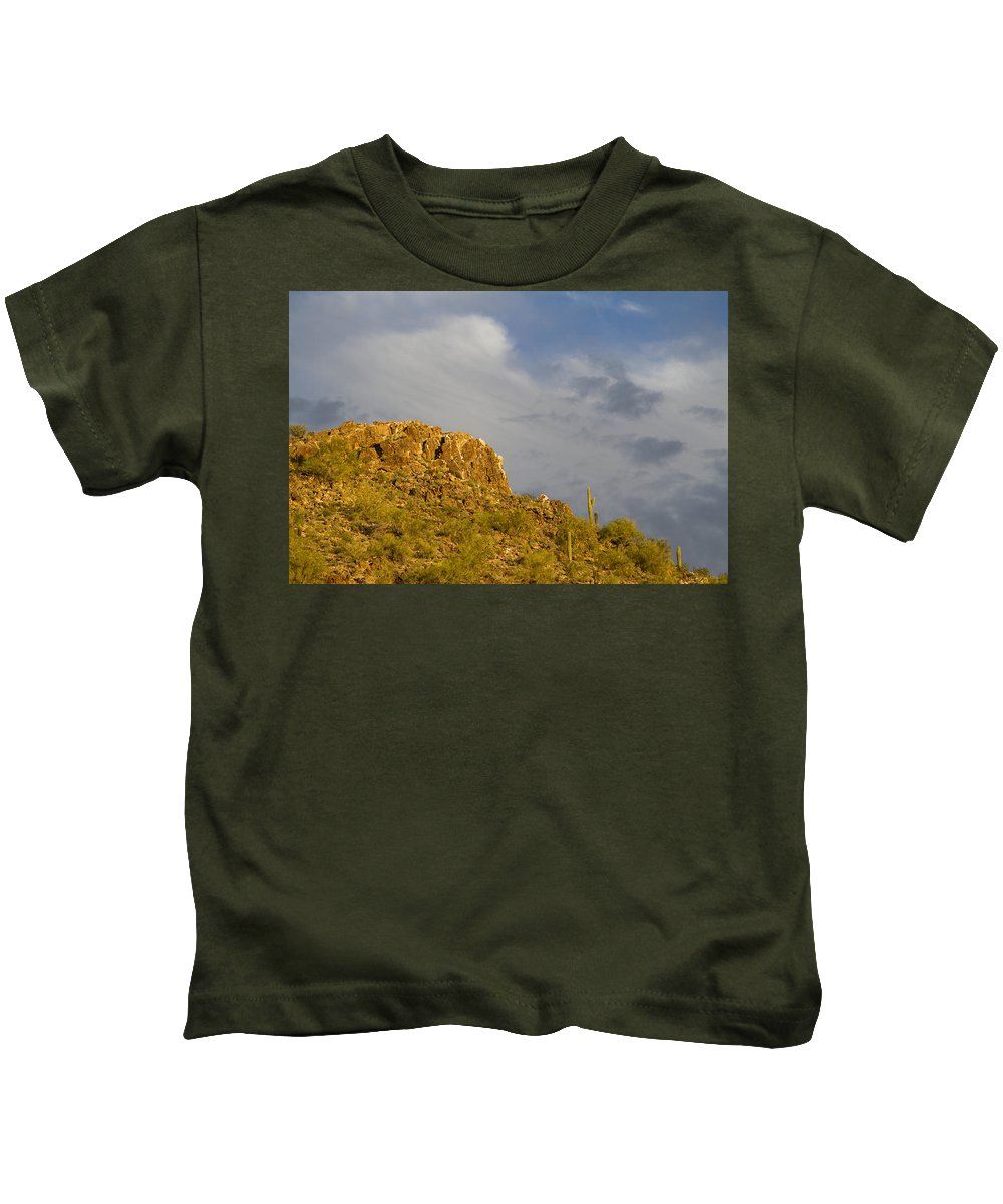 Arizona Kids T-Shirt featuring the photograph Mountain Guardians by Cathy Franklin