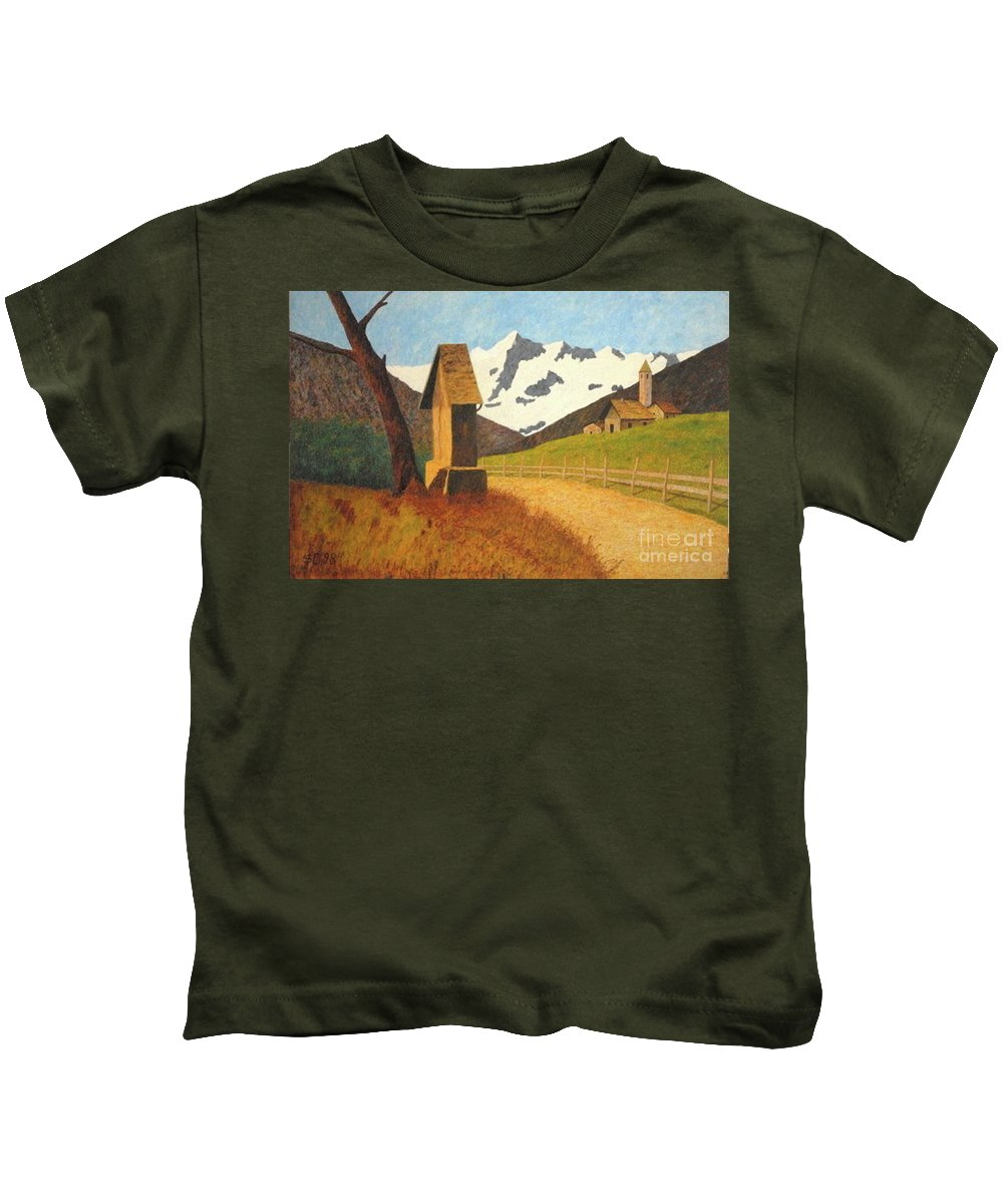 Colored-pencils Kids T-Shirt featuring the painting Mountain Landscape by Vincent Consiglio